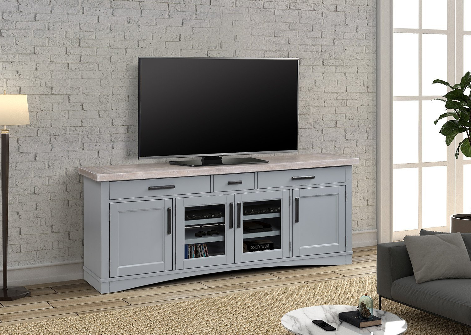 """76"""" Dove Grey Americana Modern Dove Console — Miller's Throughout Penelope Dove Grey Tv Stands (View 1 of 20)"""