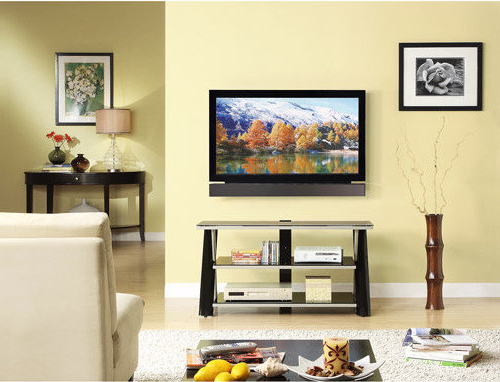 """764053453168 Whalen 3 In 1 Flat Panel Tv Stand, For Tvs Up Inside Whalen Furniture Black Tv Stands For 65"""" Flat Panel Tvs With Tempered Glass Shelves (View 15 of 20)"""
