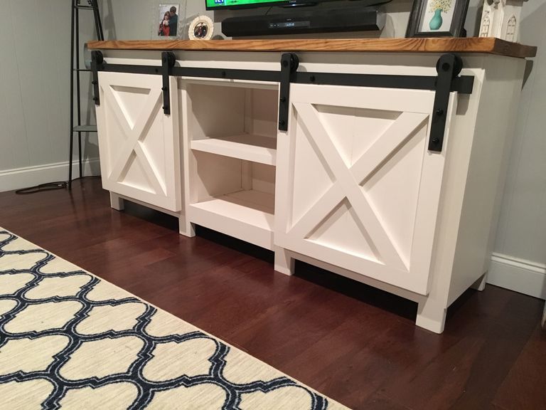 9 Free Tv Stand Plans You Can Diy Right Now Within Robinson Rustic Farmhouse Sliding Barn Door Corner Tv Stands (View 18 of 20)