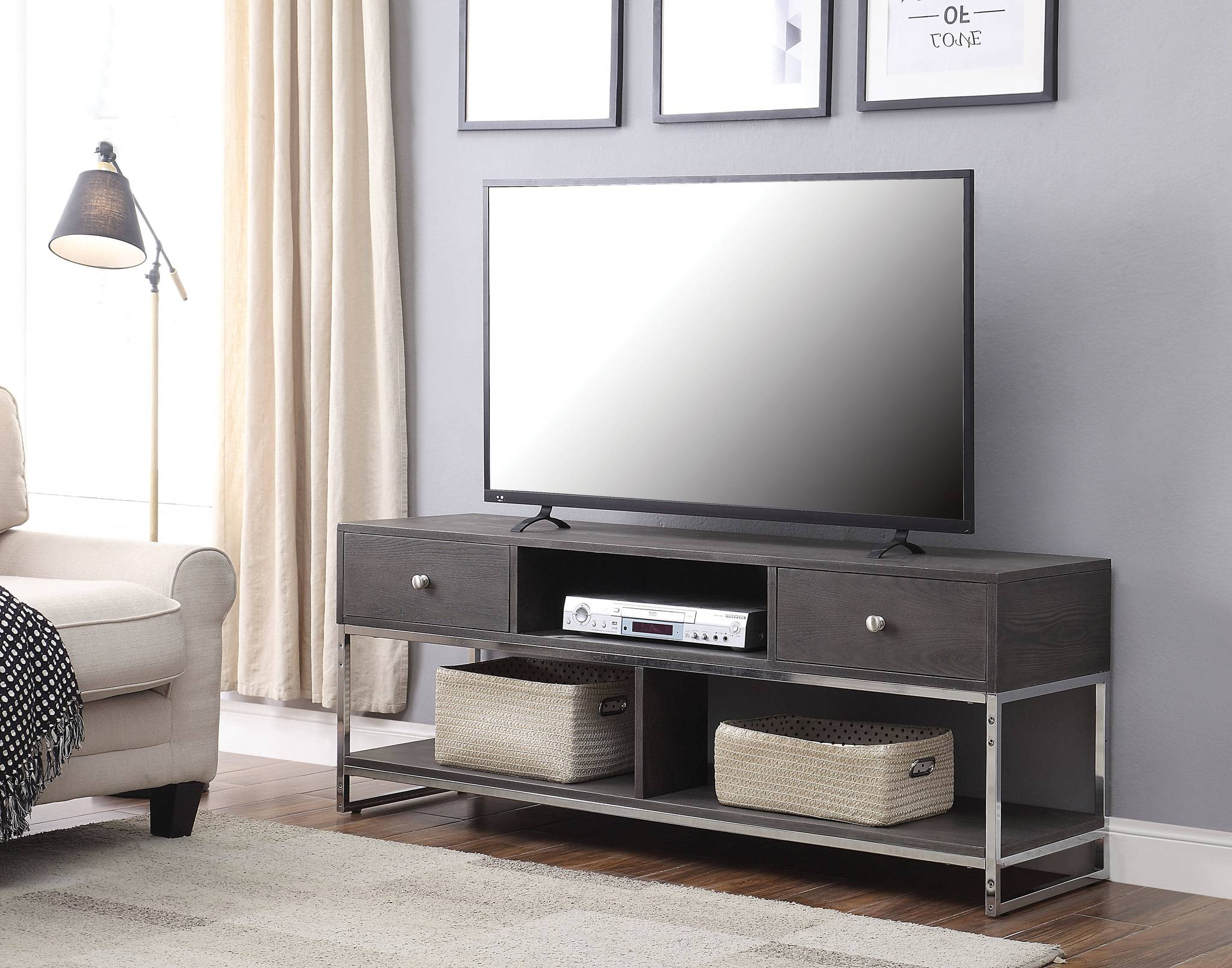 91204 Iban Gray Wood Metal Finish Modern Tv Stand Within Modern Black Tv Stands On Wheels With Metal Cart (View 1 of 20)