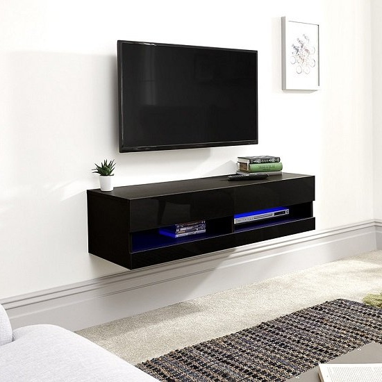 Abril Wall Mounted Small Tv Stand In Black Gloss With Led With Manhattan Compact Tv Unit Stands (View 16 of 20)