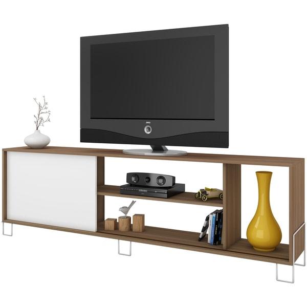 Accentuationsmanhattan Comfort Nacka 4 Shelf Tv Stand In Manhattan 2 Drawer Media Tv Stands (View 8 of 20)