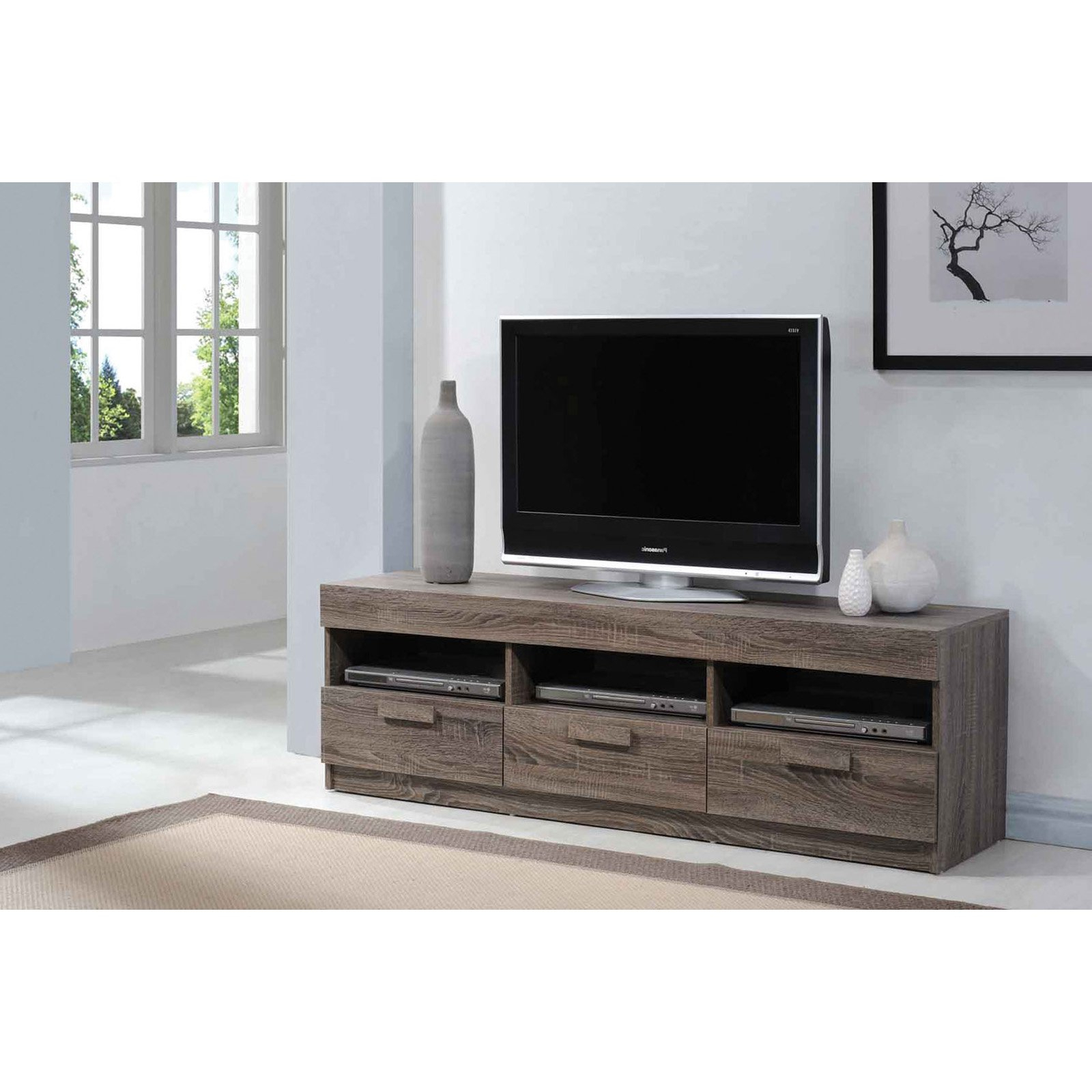 """Acme Alvin Rustic Oak Tv Stand For Flat Screen Tvs Up To With Ahana Tv Stands For Tvs Up To 60"""" (View 7 of 20)"""