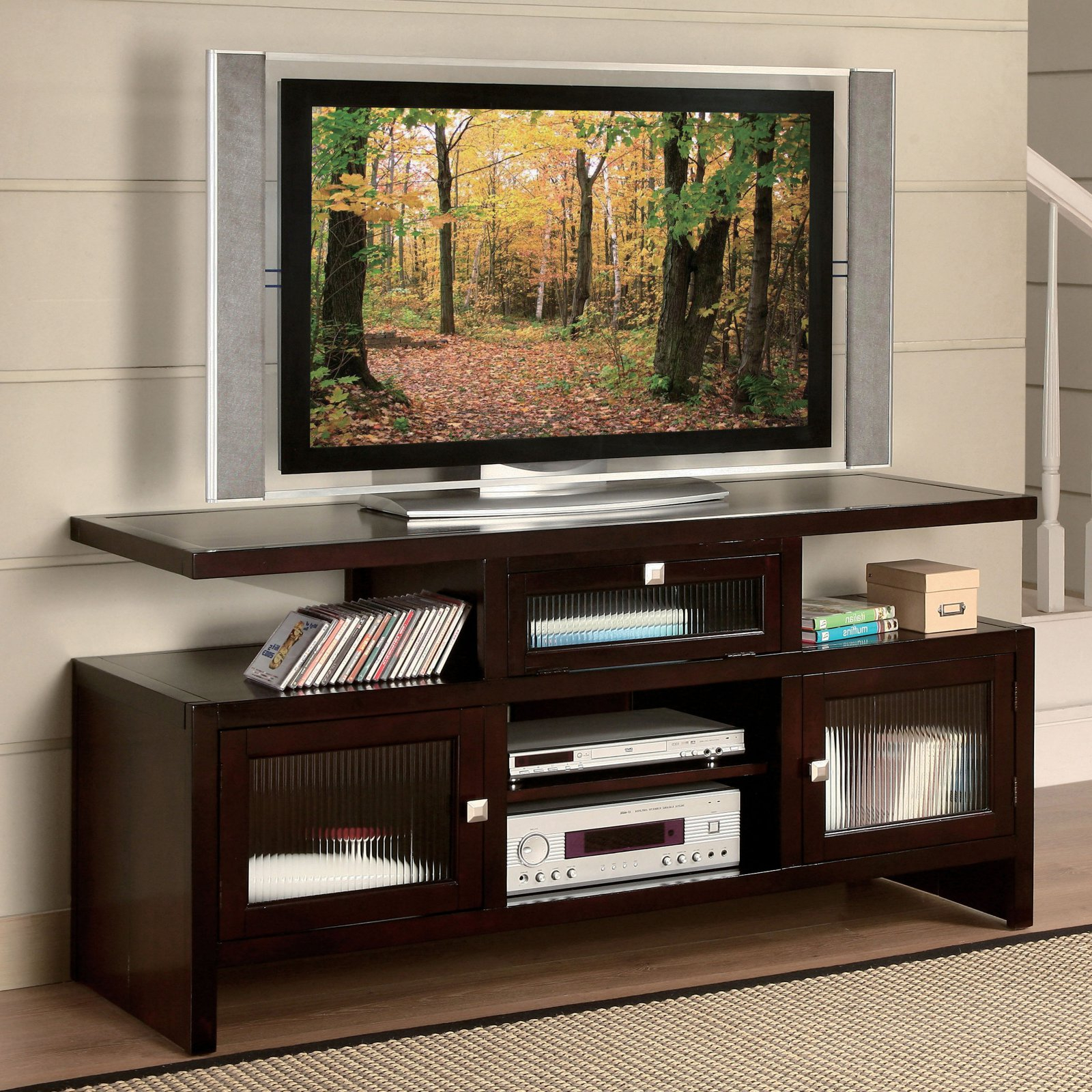 """Acme Jupiter Foldable Tv Stand For Tvs Up To 70"""", Espresso Pertaining To Broward Tv Stands For Tvs Up To 70"""" (View 14 of 20)"""