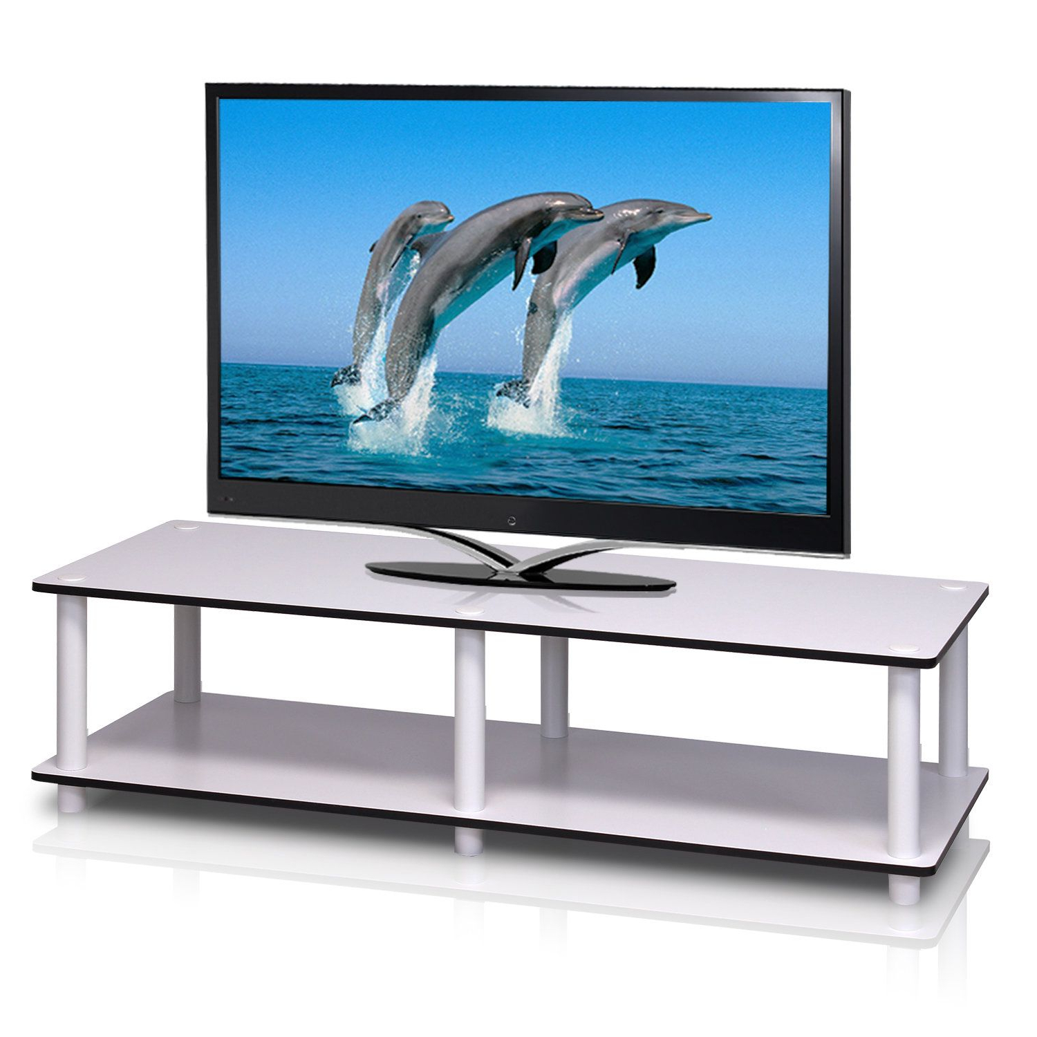 Addyson Media Console   Furinno, Tv Stand, Home Regarding Furinno 2 Tier Elevated Tv Stands (View 11 of 20)