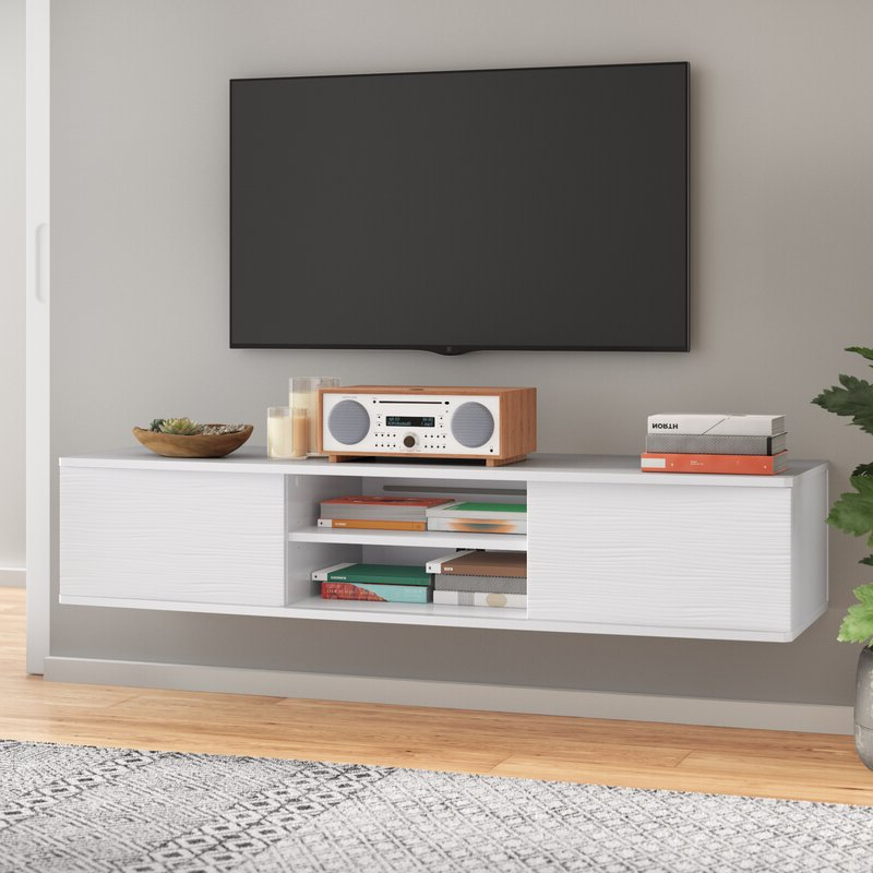 """Agora Floating Tv Stand For Tvs Up To 65"""" & Reviews Intended For Farmhouse Woven Paths Glass Door Tv Stands (View 2 of 20)"""