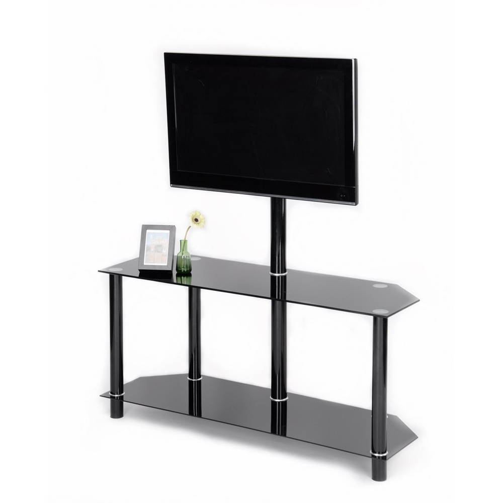 Aingoo Modern Black Tempered Safety Glass Tv Stand For Up With Modern Black Floor Glass Tv Stands With Mount (View 10 of 20)