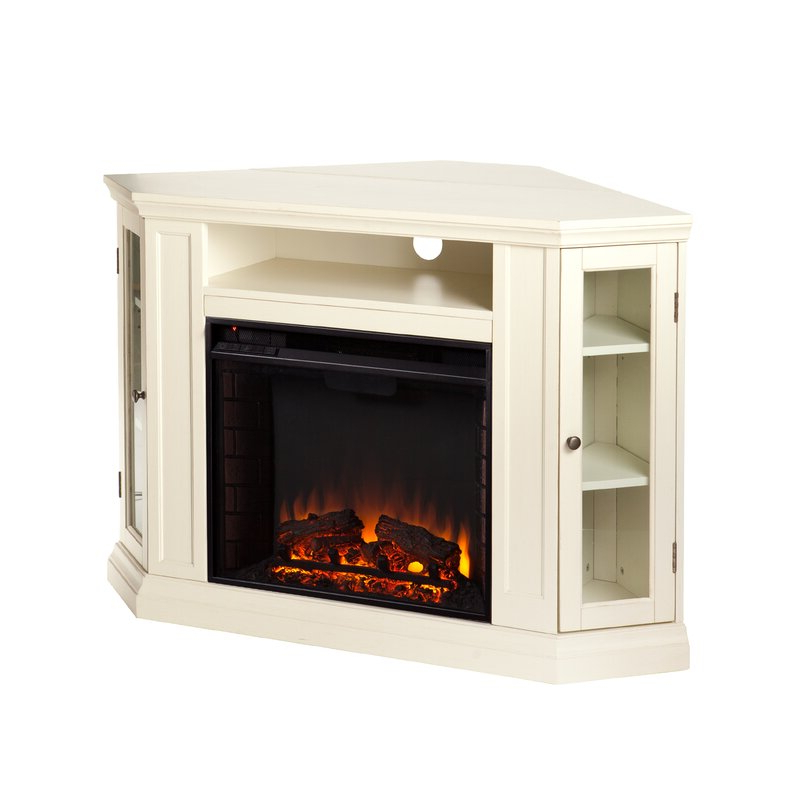 Alcott Hill Dunminning Corner Tv Stand With Fireplace For Compton Ivory Corner Tv Stands With Baskets (View 15 of 20)