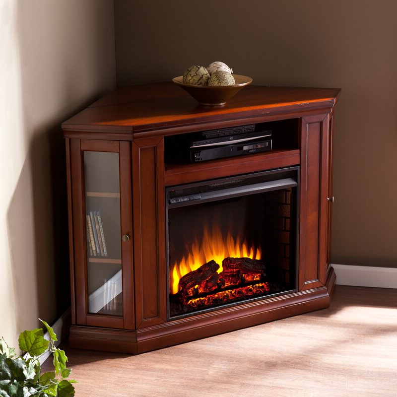 Alcott Hill Dunminning Corner Tv Stand With Fireplace Inside Compton Ivory Corner Tv Stands With Baskets (View 6 of 20)