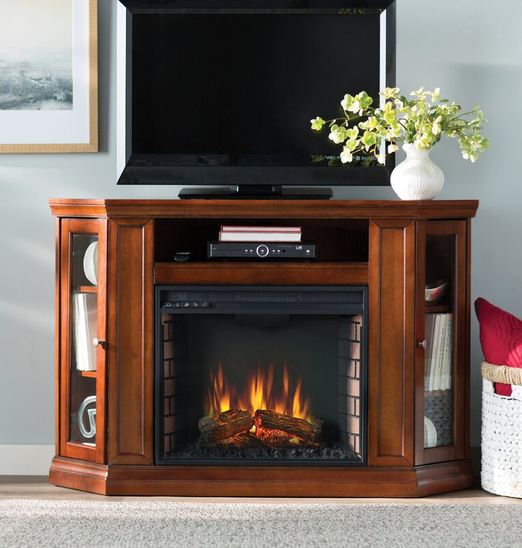 Alcott Hill Dunminning Corner Tv Stand With Fireplace With Regard To Compton Ivory Corner Tv Stands With Baskets (View 8 of 20)