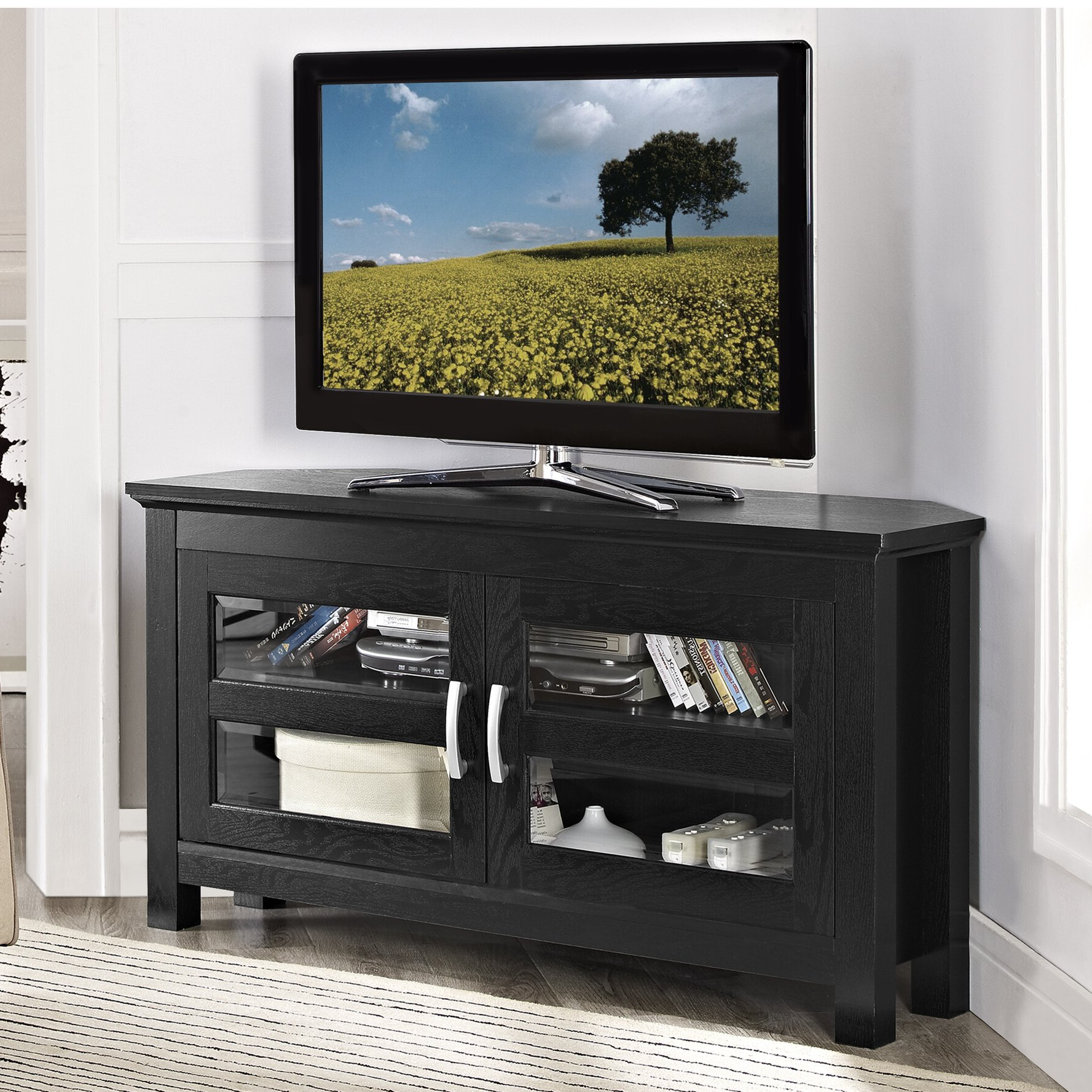 Alcott Hill Sulyard Wood Corner Tv Stand & Reviews | Wayfair Within Hex Corner Tv Stands (View 3 of 20)