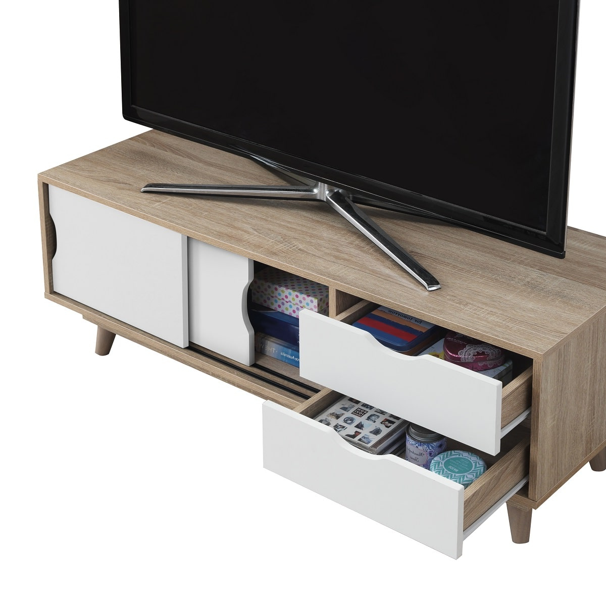 Alford Scandinavian Tv Unit Sonoma Oak & White – Y1 Furniture Throughout Emmett Sonoma Tv Stands With Coffee Table With Metal Frame (View 14 of 20)