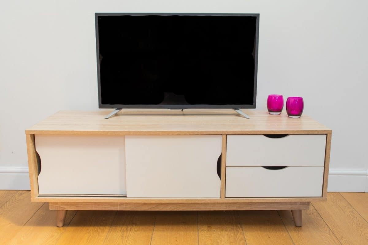 Alford Scandinavian Tv Unit Sonoma Oak & White – Y1 Furniture With Emmett Sonoma Tv Stands With Coffee Table With Metal Frame (View 3 of 20)