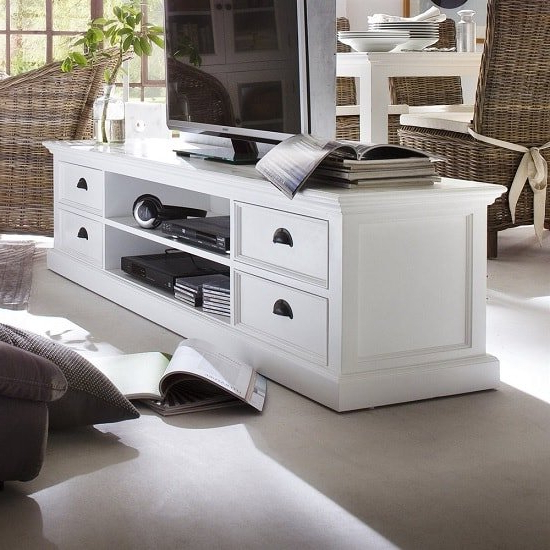 Allthorp Solid Wood Tv Stand Large In White With 4 Drawers In Tv Stands With Drawer And Cabinets (View 17 of 20)