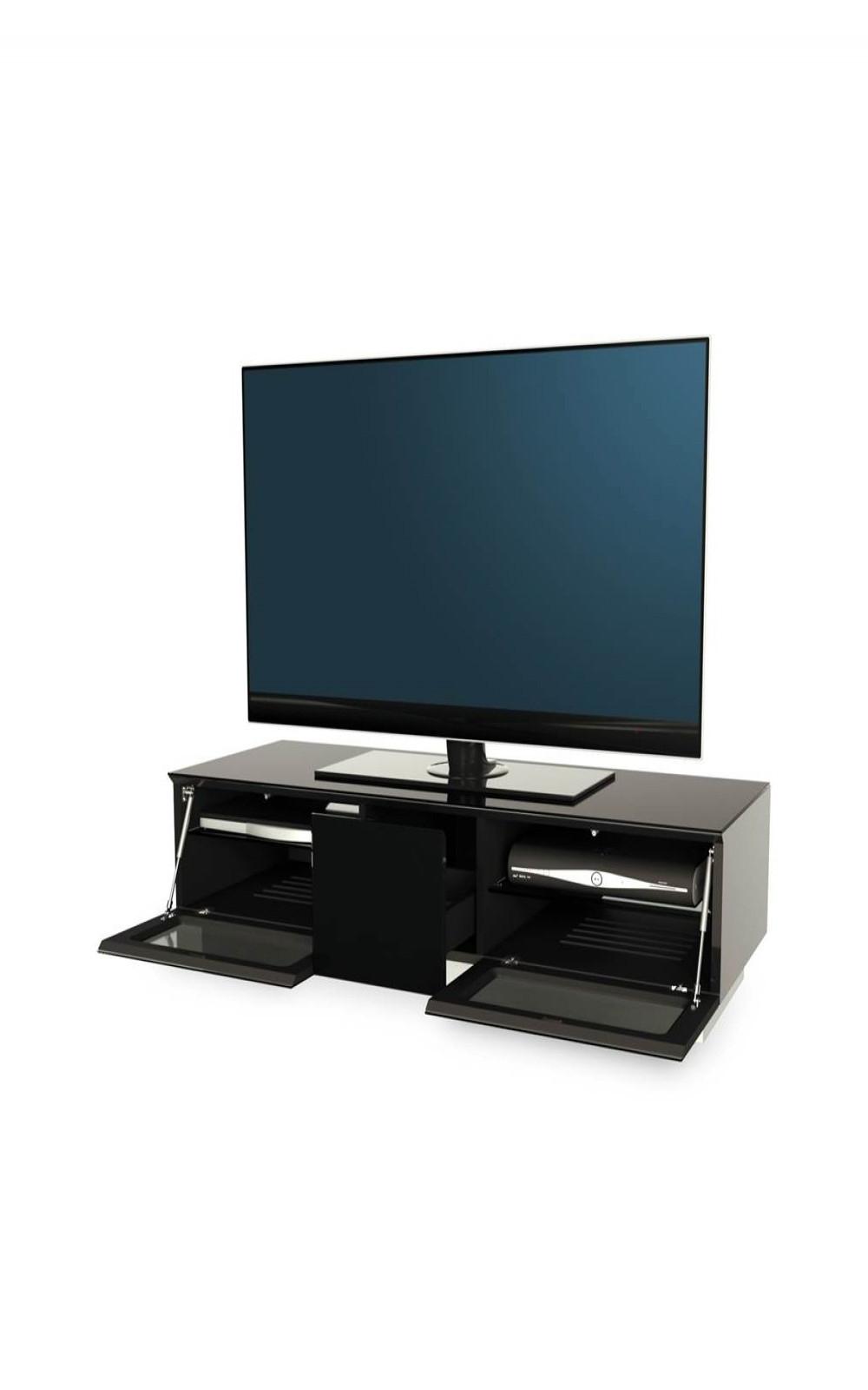 Alphason Emtmod1250 Blk Element Modular Tv Stand | 121 Tv Regarding 57'' Tv Stands With Open Glass Shelves Gray & Black Finsh (View 1 of 20)