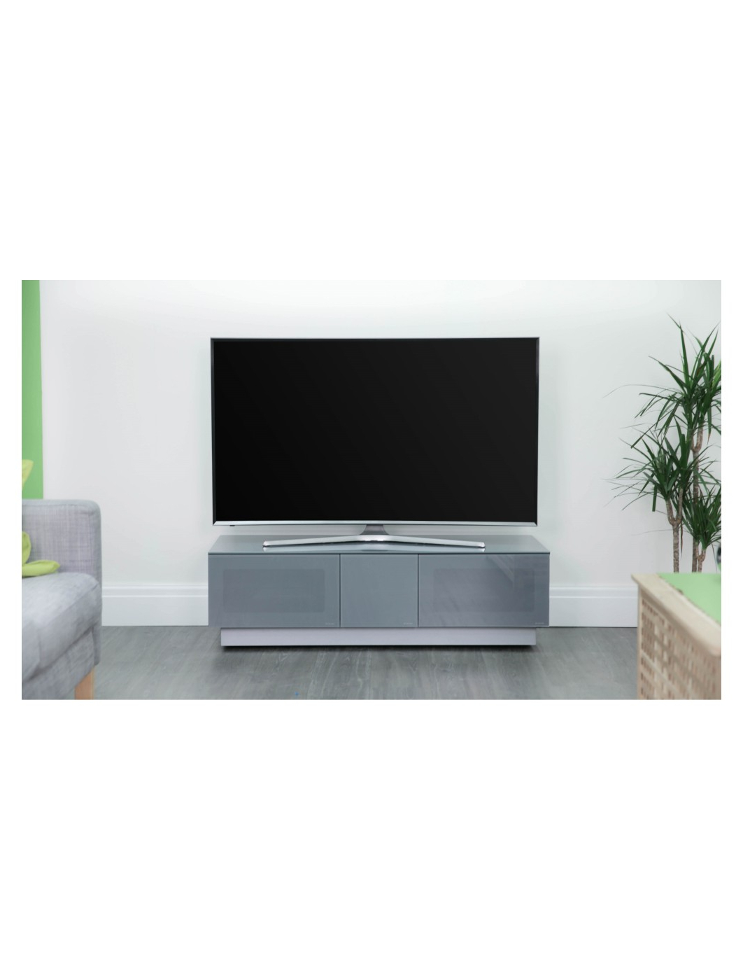 Alphason Emtmod1250 Gry Element Modular Tv Stand | 121 Tv Within 57'' Tv Stands With Open Glass Shelves Gray & Black Finsh (View 4 of 20)