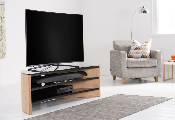 Alphason Finewoods Corner Tv Stand  Light Oak – Fw1400c Lo Within Sidmouth Oak Corner Tv Stands (View 10 of 20)