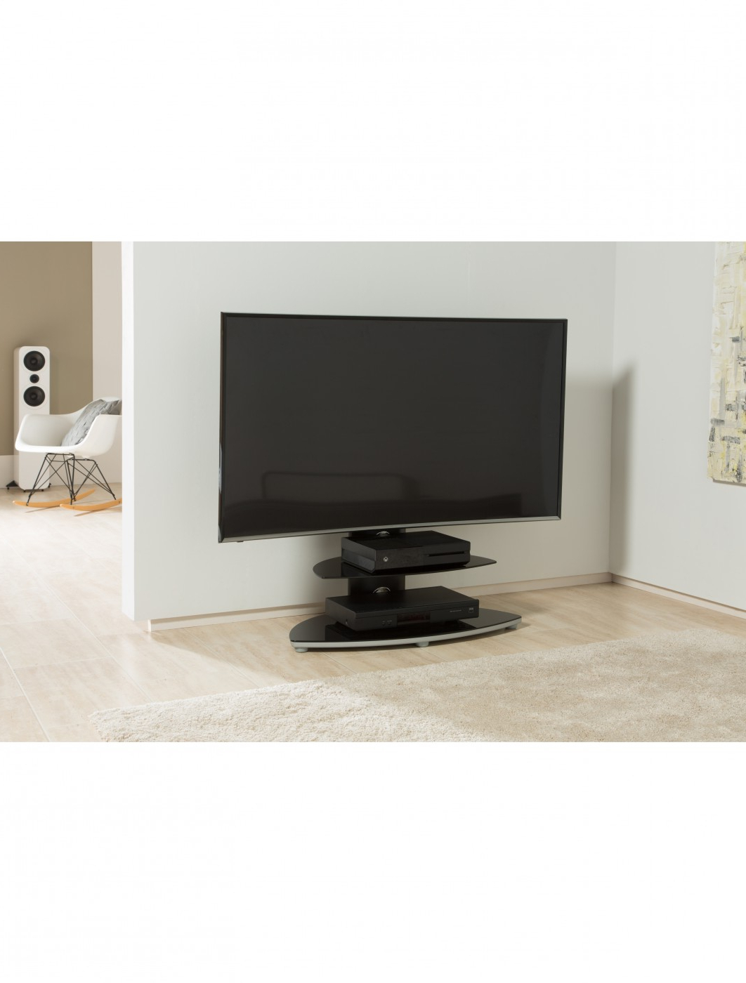 Alphason Osmb800/2 S Osmium Tv Stand | 121 Tv Mounts Pertaining To 57'' Tv Stands With Open Glass Shelves Gray & Black Finsh (View 7 of 20)