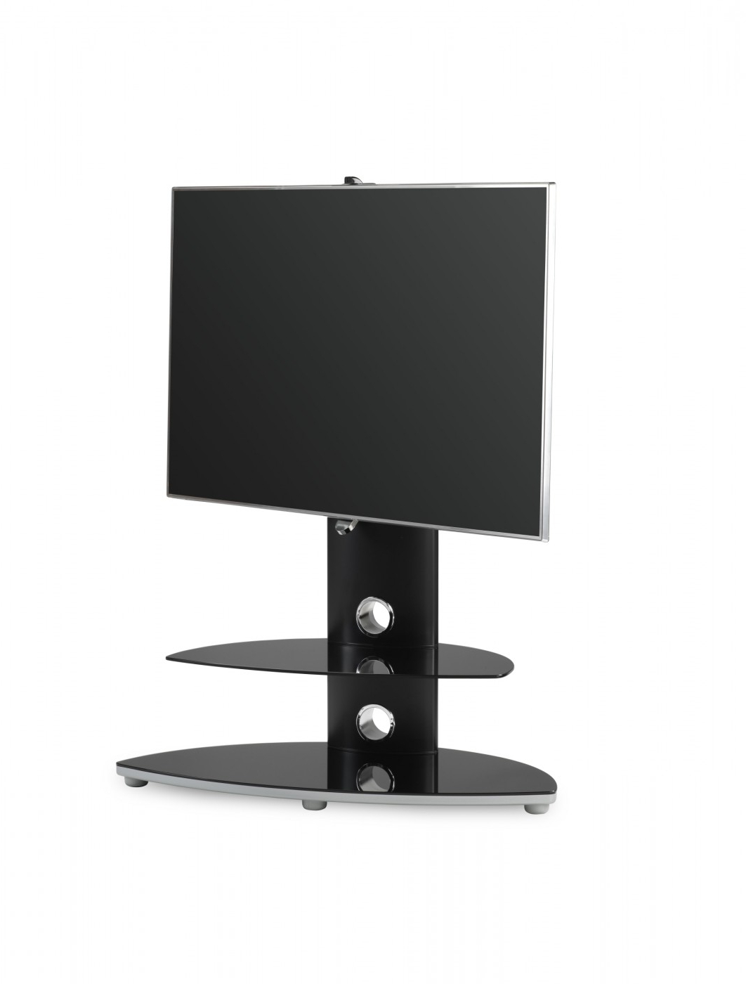 Alphason Osmb800/2 S Osmium Tv Stand | 121 Tv Mounts Within 57'' Tv Stands With Open Glass Shelves Gray & Black Finsh (View 16 of 20)
