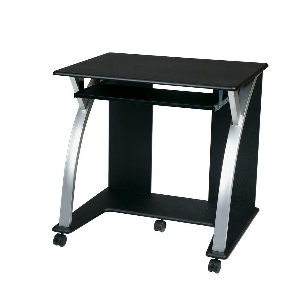 Altra Furniture Parsons Black Oak Desk 9394096 – The Home Intended For Large Rolling Tv Stands On Wheels With Black Finish Metal Shelf (View 2 of 20)