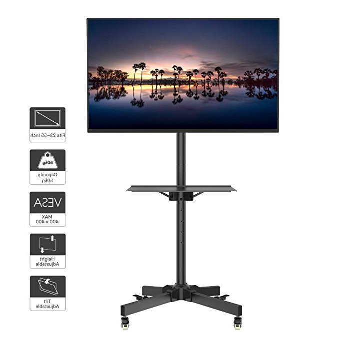 Amazon: 1home Mobile Tv Cart Rolling Tv Stand For 23 Pertaining To Rolling Tv Cart Mobile Tv Stands With Lockable Wheels (View 4 of 20)