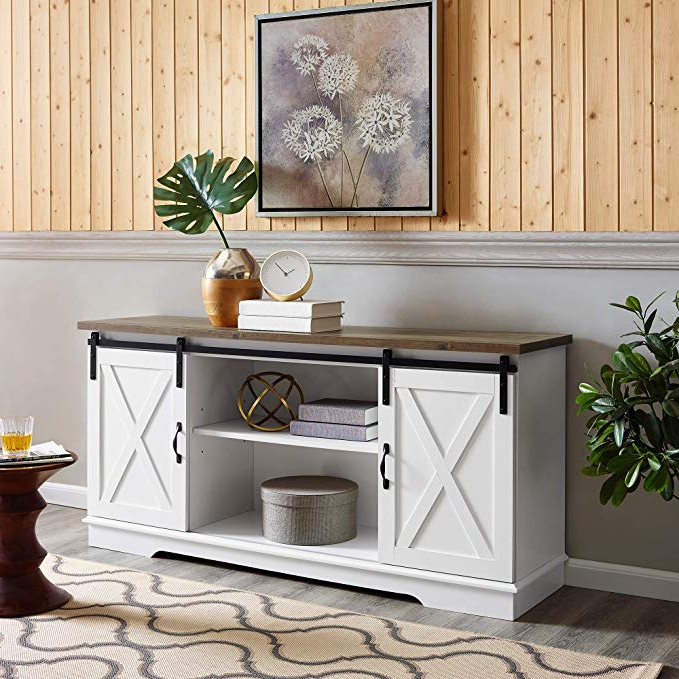 Amazon: Home Accent Furnishings New 58 Inch Sliding With Regard To Tv Stands With Sliding Barn Door Console In Rustic Oak (View 8 of 20)