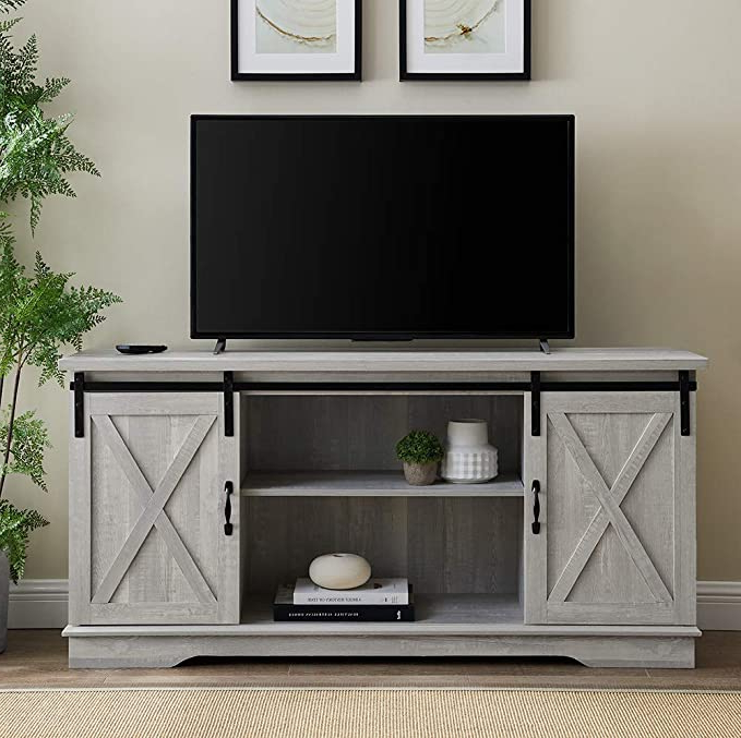 """Amazon: Home Accent Furnishings Tucker 58 Inch Sliding With Regard To Jaxpety 58"""" Farmhouse Sliding Barn Door Tv Stands (View 16 of 20)"""