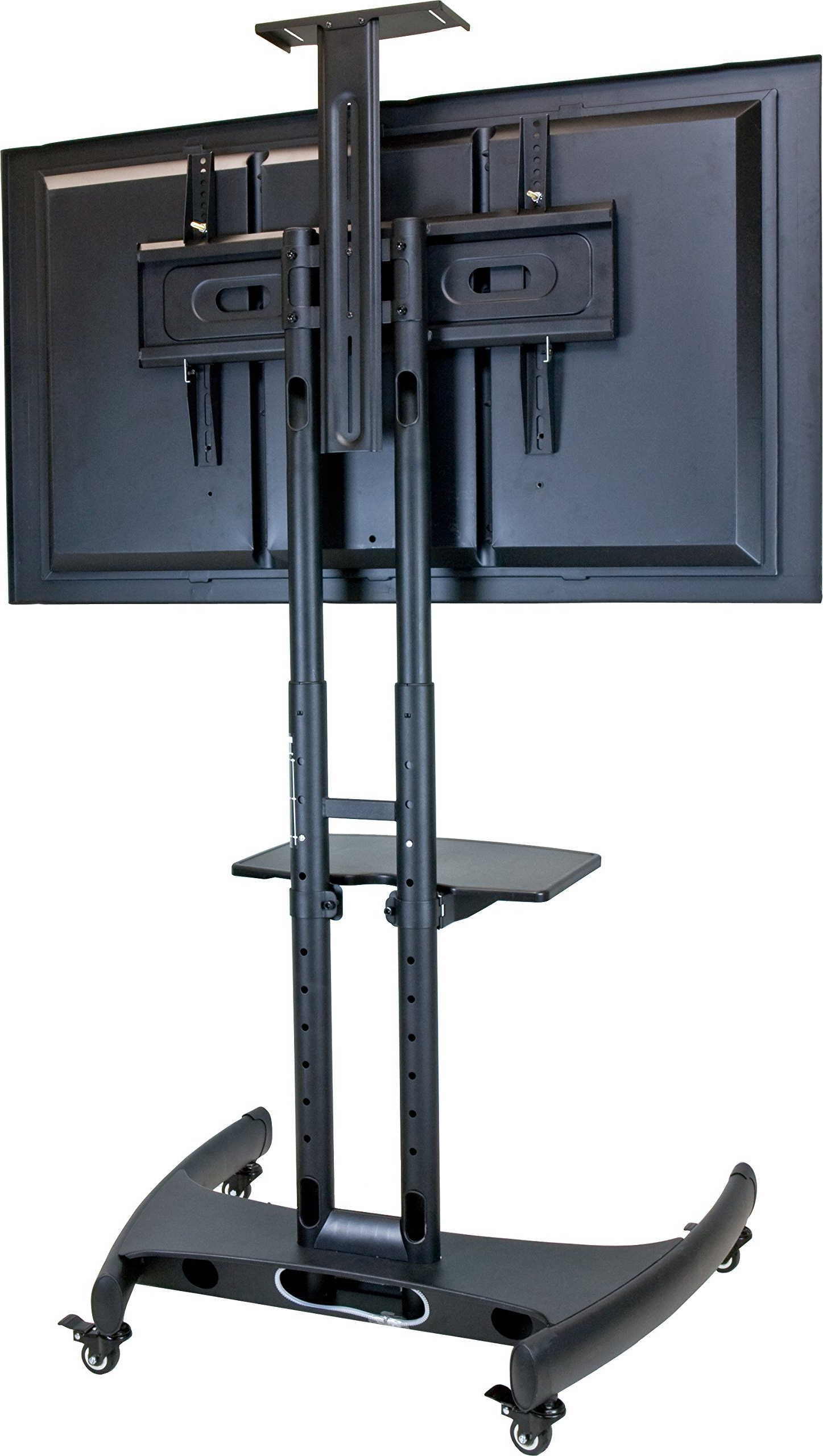 Amazon : Mobile Adjustable Height Flat Panel Tv Stand Intended For Mobile Tv Stands With Lockable Wheels For Corner (View 8 of 20)