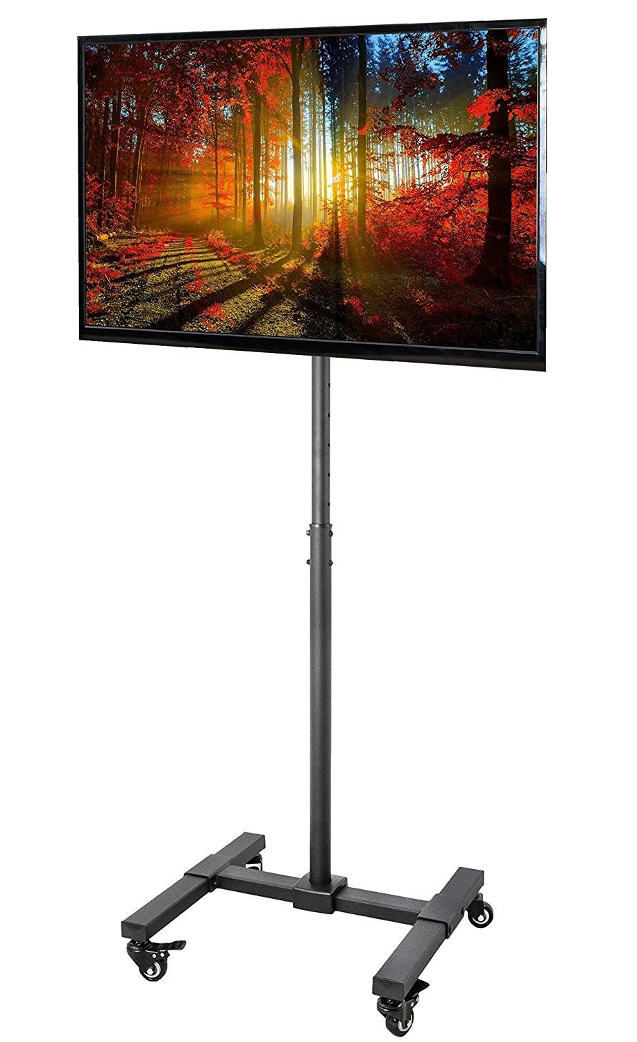 Amazon: Vivo Tv Display Portable Floor Stand Height In Rolling Tv Stands With Wheels With Adjustable Metal Shelf (View 7 of 20)