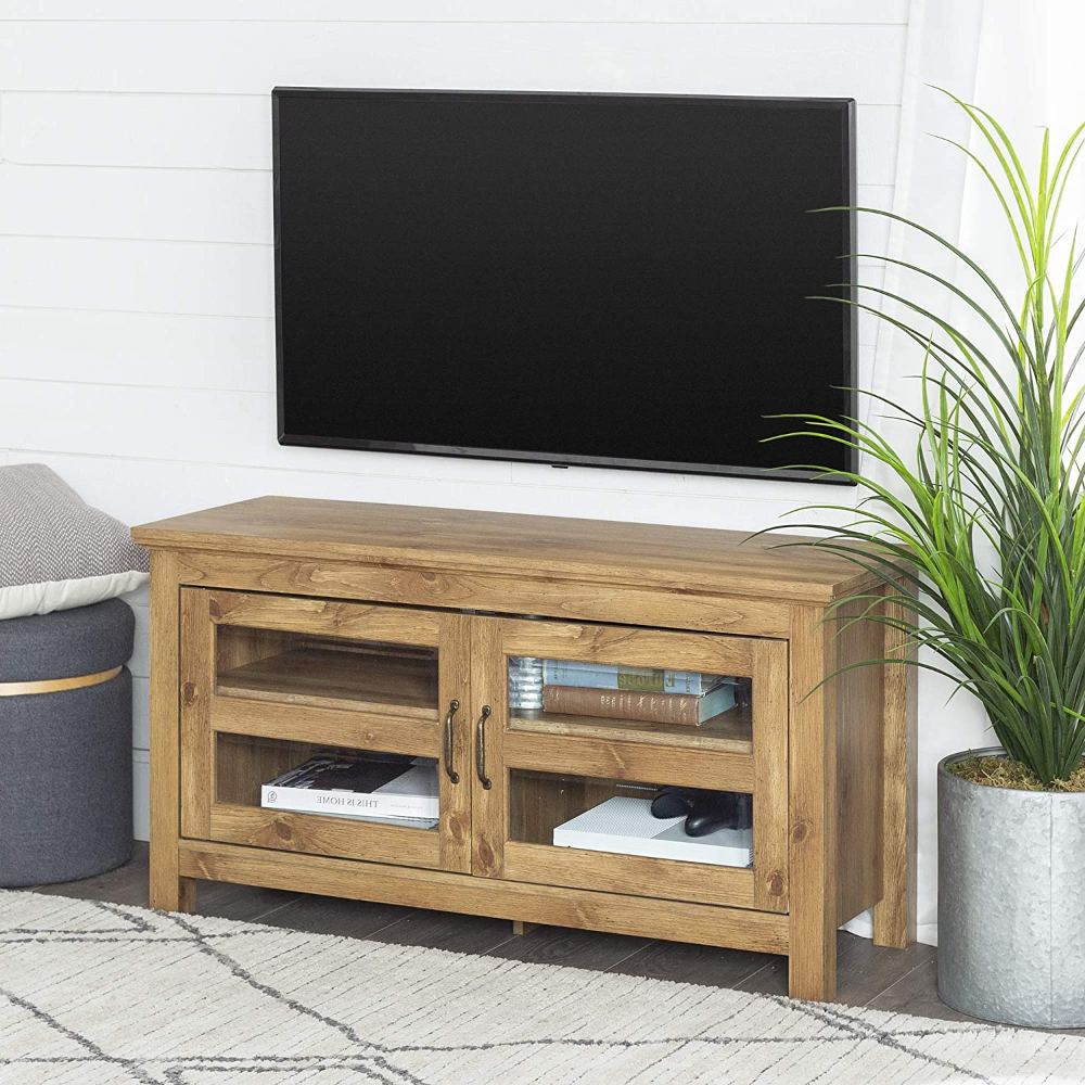 """Amazon: We Furniture Modern Farmhouse Wood Corner Regarding Wood Corner Storage Console Tv Stands For Tvs Up To 55"""" White (View 2 of 20)"""