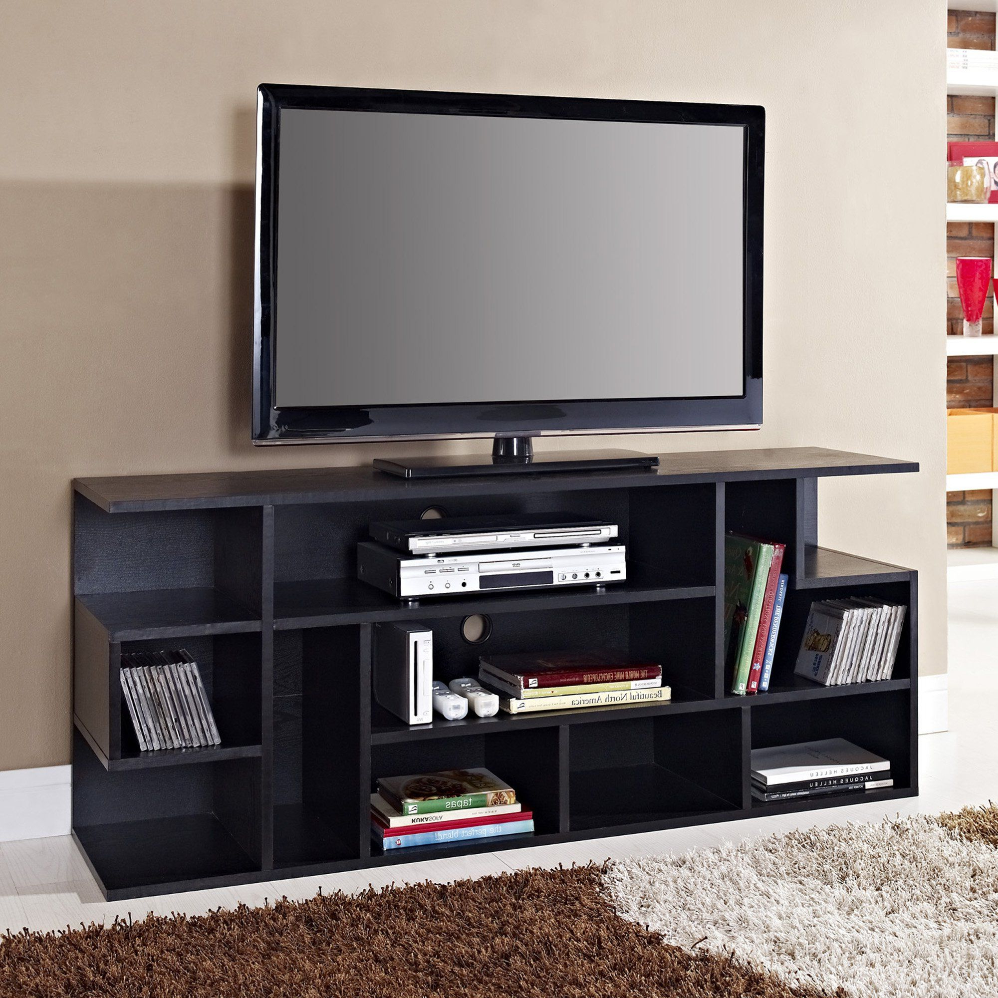 Amazon – We Furniture Wood Modern Style Tv Stand, 60 With Modern Black Floor Glass Tv Stands With Mount (View 3 of 20)