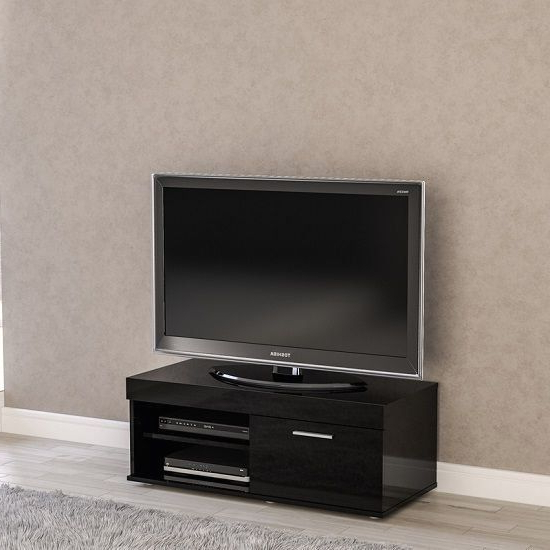 Amerax Small Tv Stand In Black High Gloss With 1 Door For Manhattan Compact Tv Unit Stands (View 17 of 20)