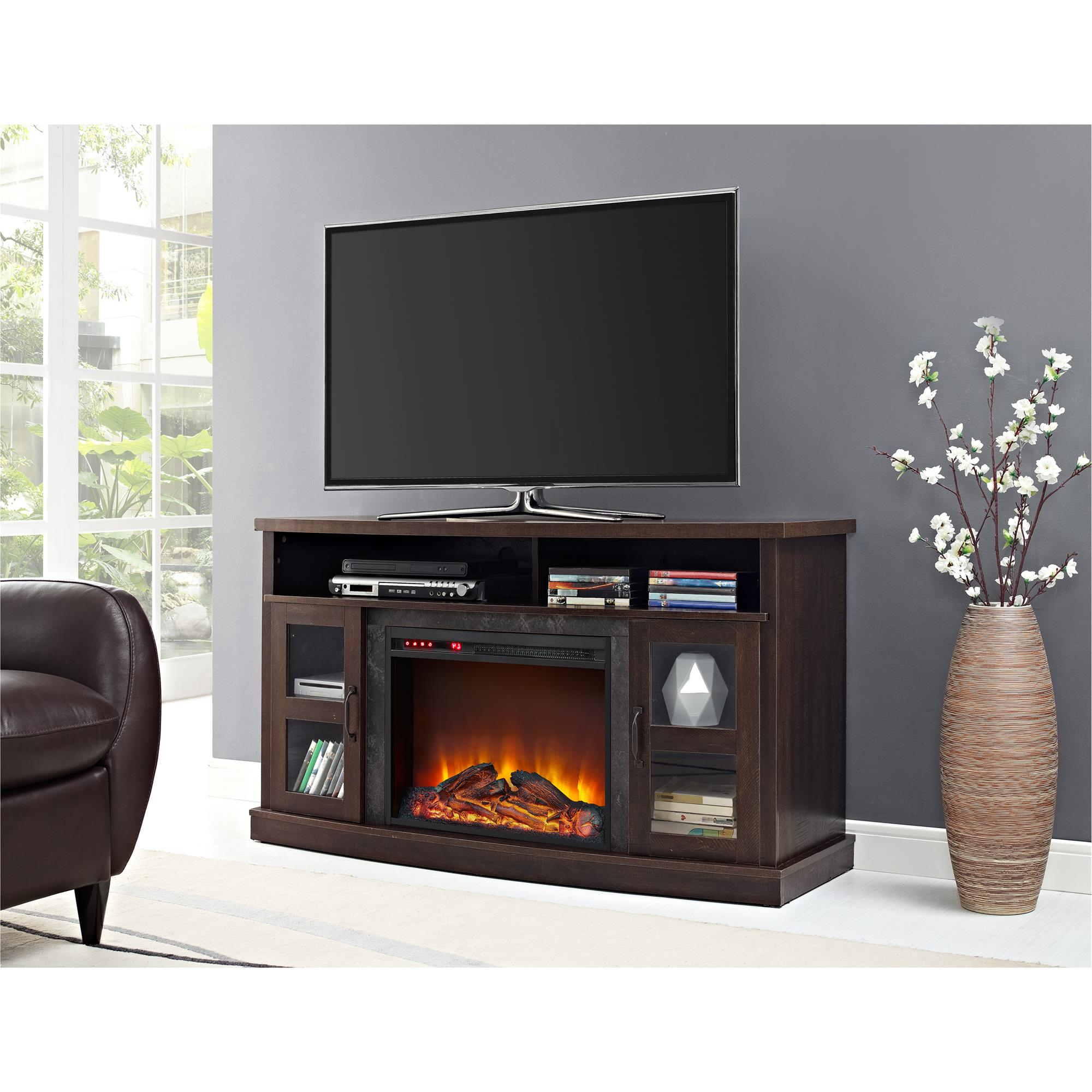 """Ameriwood Home Barrow Creek Fireplace Console With Glass Intended For Margulies Tv Stands For Tvs Up To 60"""" (View 2 of 20)"""