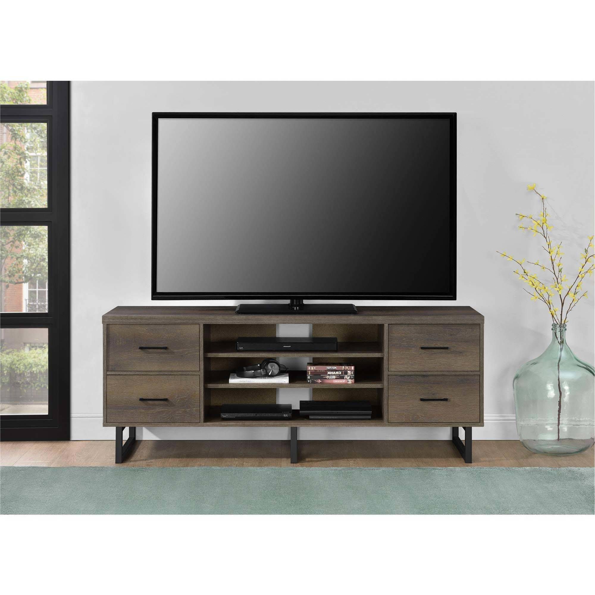 Ameriwood Home Candon Tv Stand With Bins For Tvs Up To 60 Inside Bromley Extra Wide Oak Tv Stands (View 15 of 20)