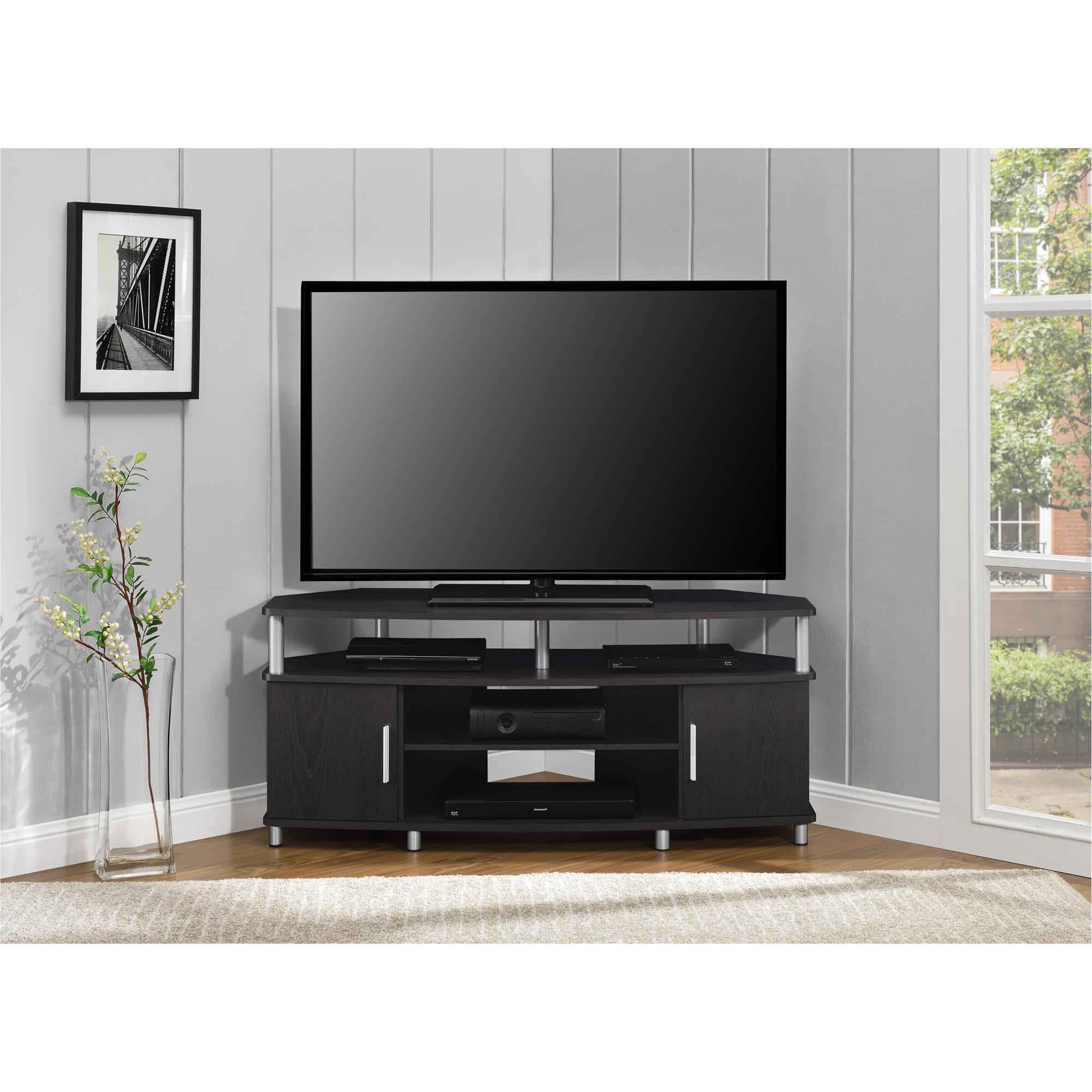 """Ameriwood Home Carson Corner Tv Stand For Tvs Up To 50 With Corner Tv Stands For Tvs Up To 43"""" Black (View 16 of 20)"""