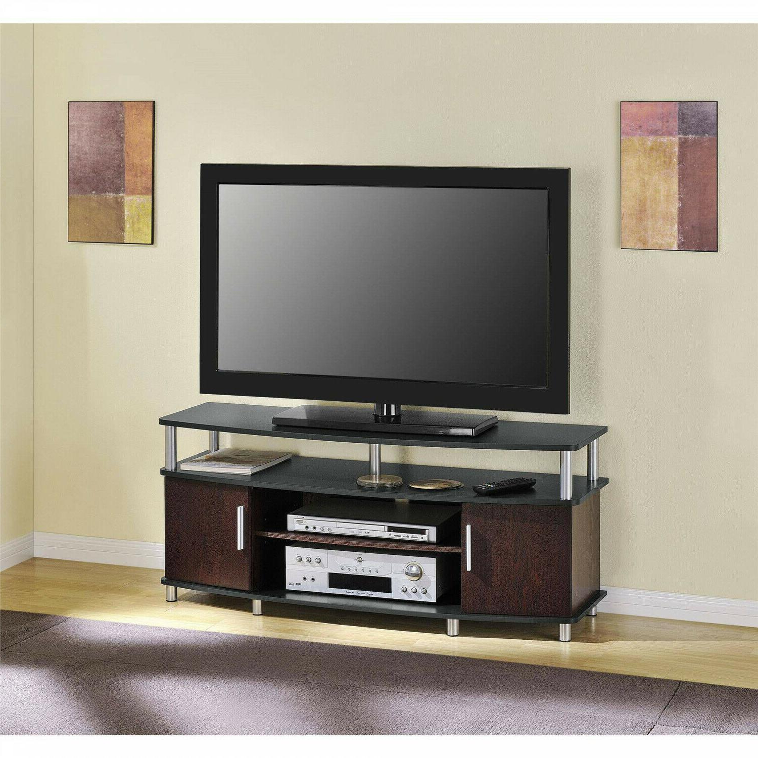 Ameriwood Home Carson Tv Stand Console Fits Regarding Carson Tv Stands In Black And Cherry (View 4 of 20)