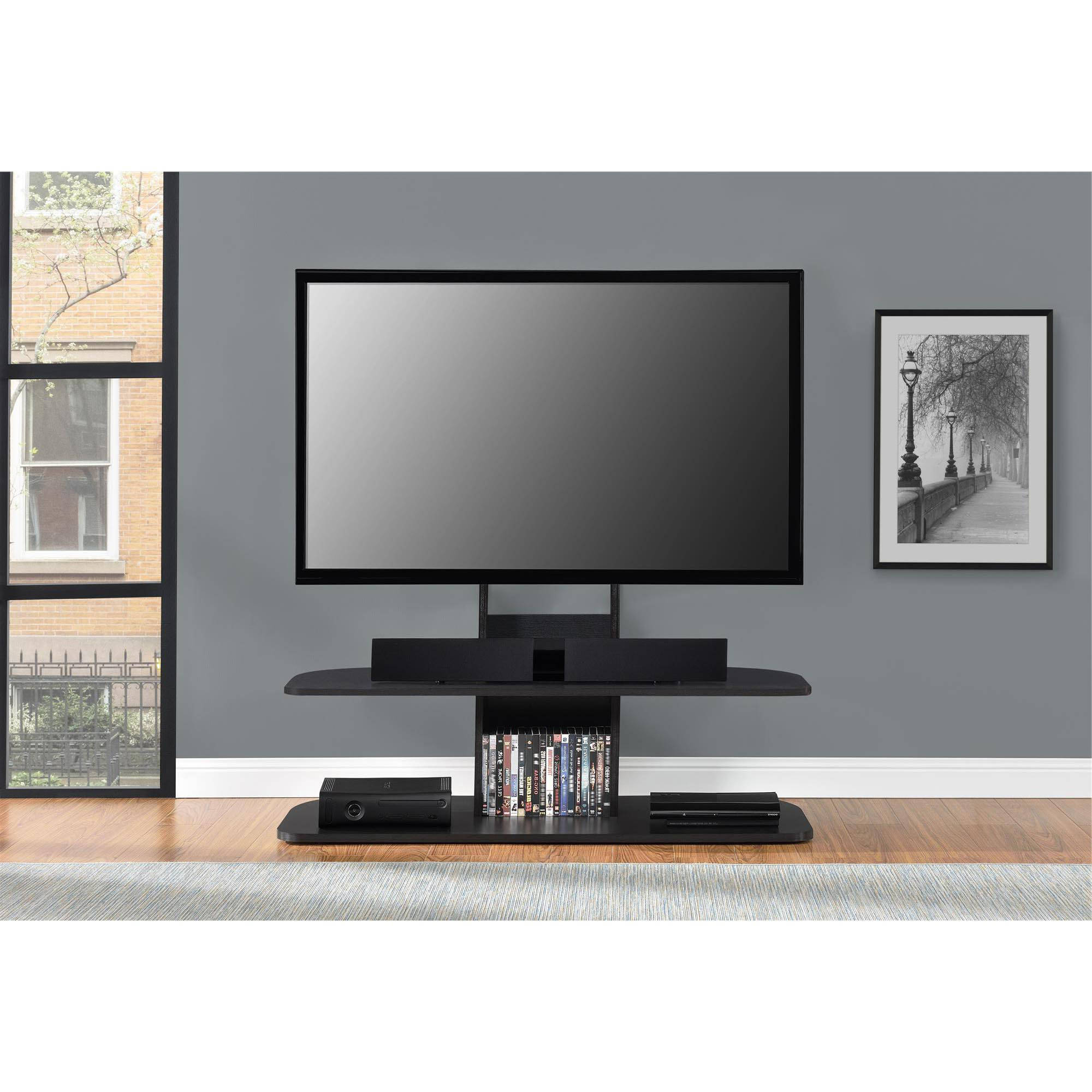Ameriwood Home Galaxy Tv Stand With Mount For Tvs Up To 65 Intended For Dillon Black Tv Unit Stands (View 11 of 20)