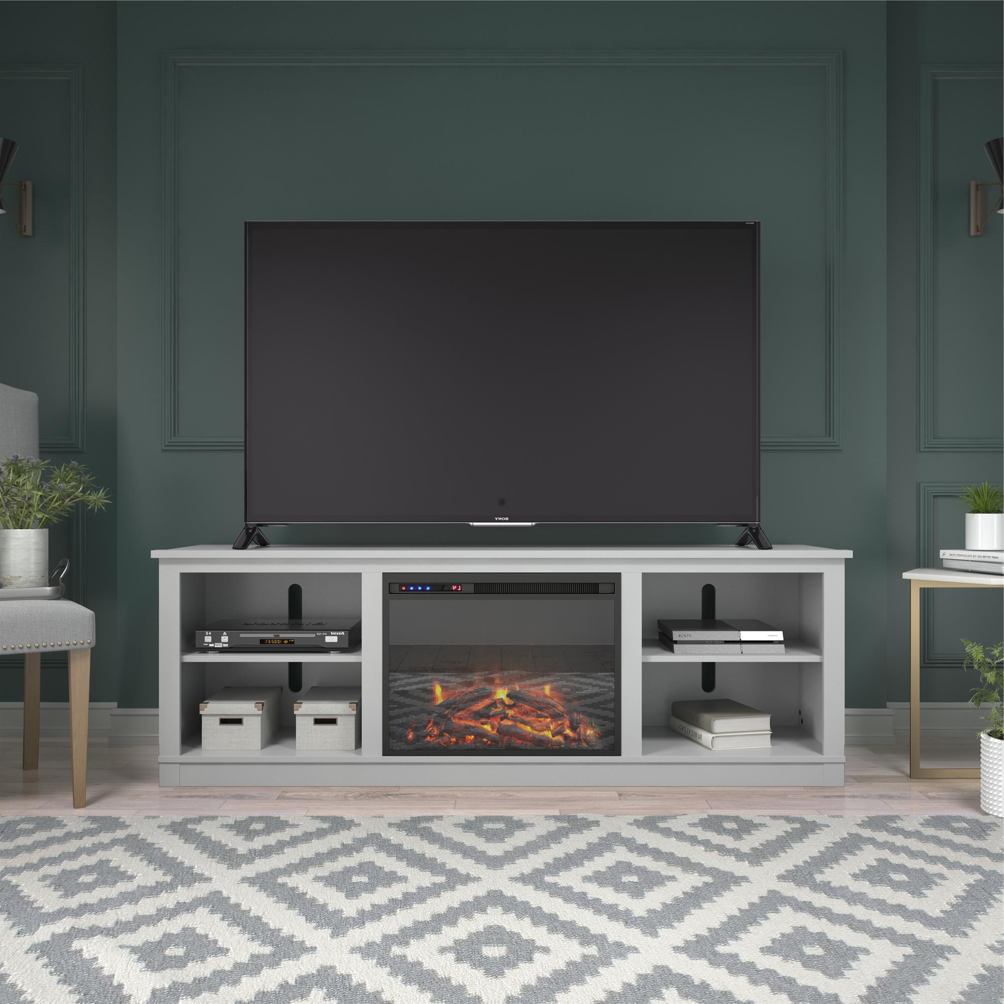 """Ameriwood Home Kahle Fireplace Tv Stand For Tvs Up To 75 Intended For Mainor Tv Stands For Tvs Up To 70"""" (View 3 of 20)"""