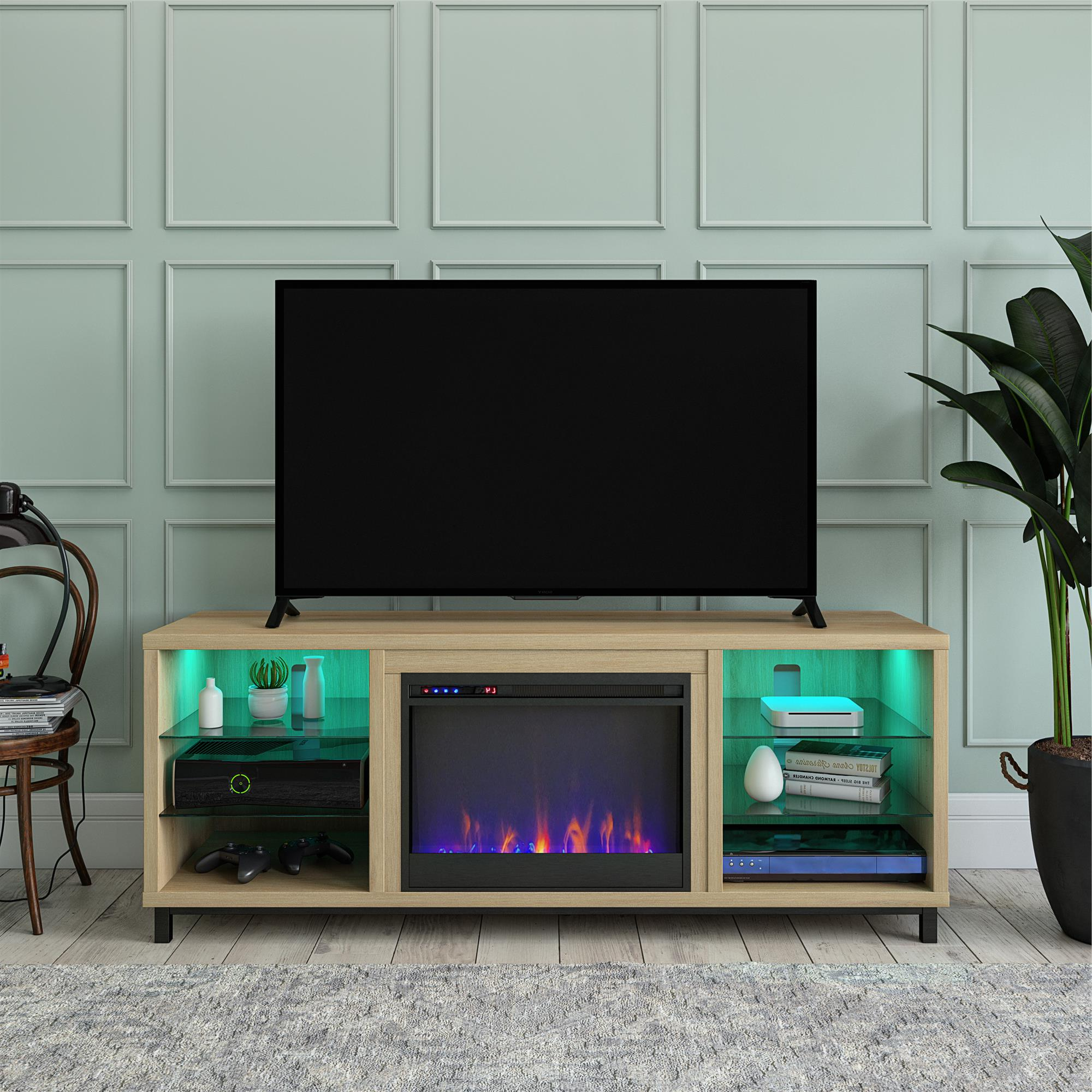 Ameriwood Home Lumina Deluxe Fireplace Tv Stand For Tvs Up Pertaining To Oliver Wide Tv Stands (View 9 of 20)