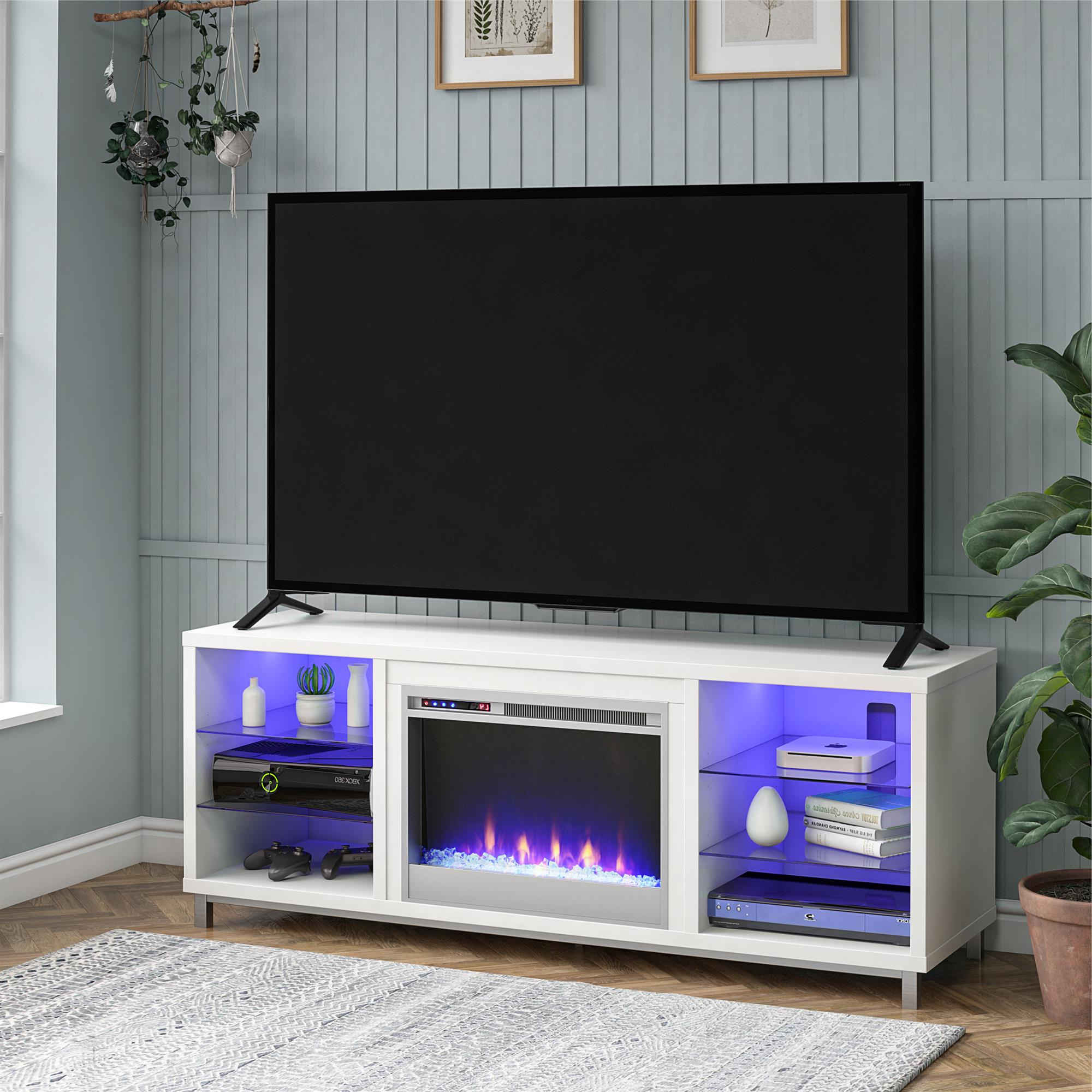 Ameriwood Home Lumina Fireplace Tv Stand For Tvs Up To 70 Inside Anya Wide Tv Stands (View 8 of 20)