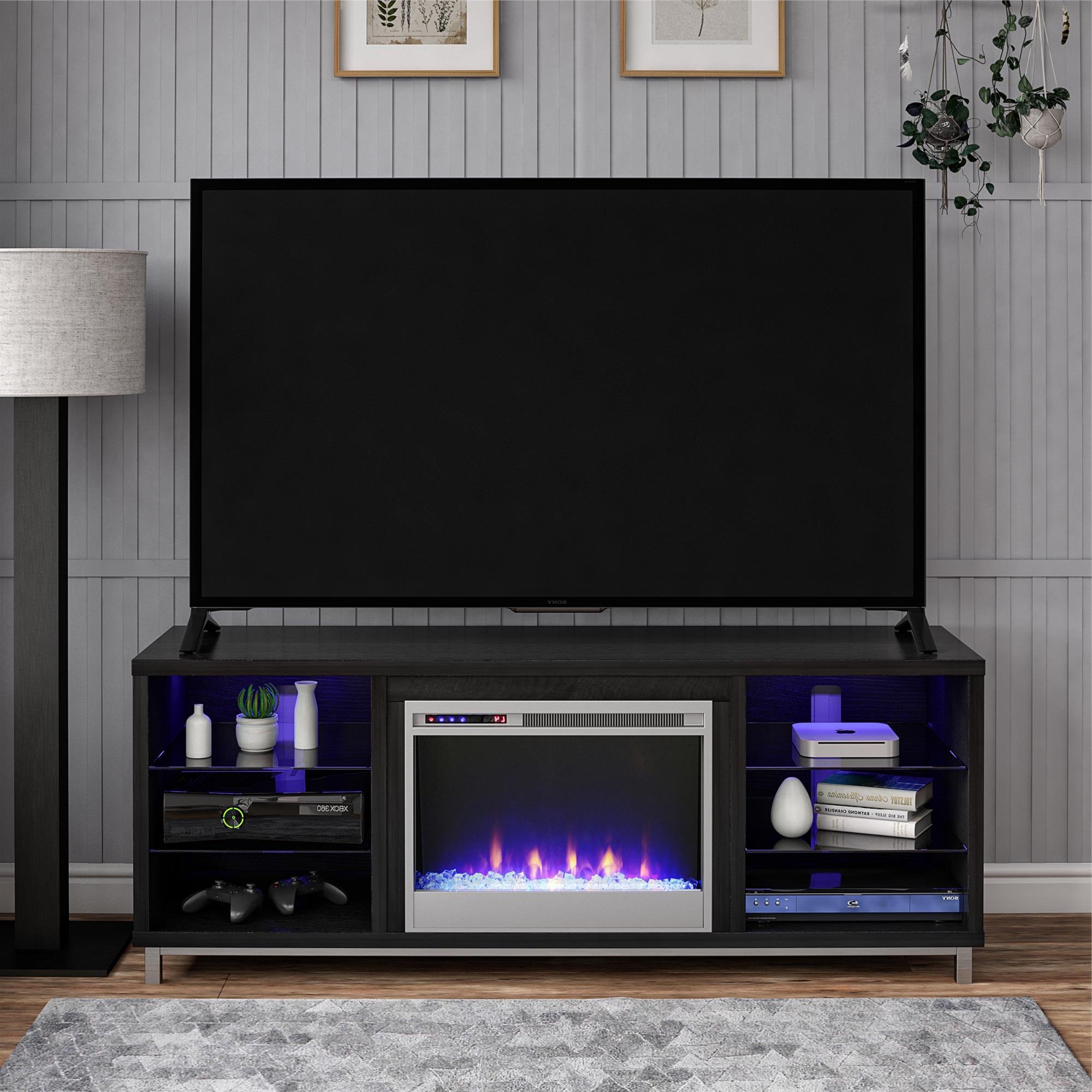 """Ameriwood Home Lumina Fireplace Tv Stand For Tvs Up To 70 Pertaining To Glass Tv Stands For Tvs Up To 70"""" (View 3 of 20)"""