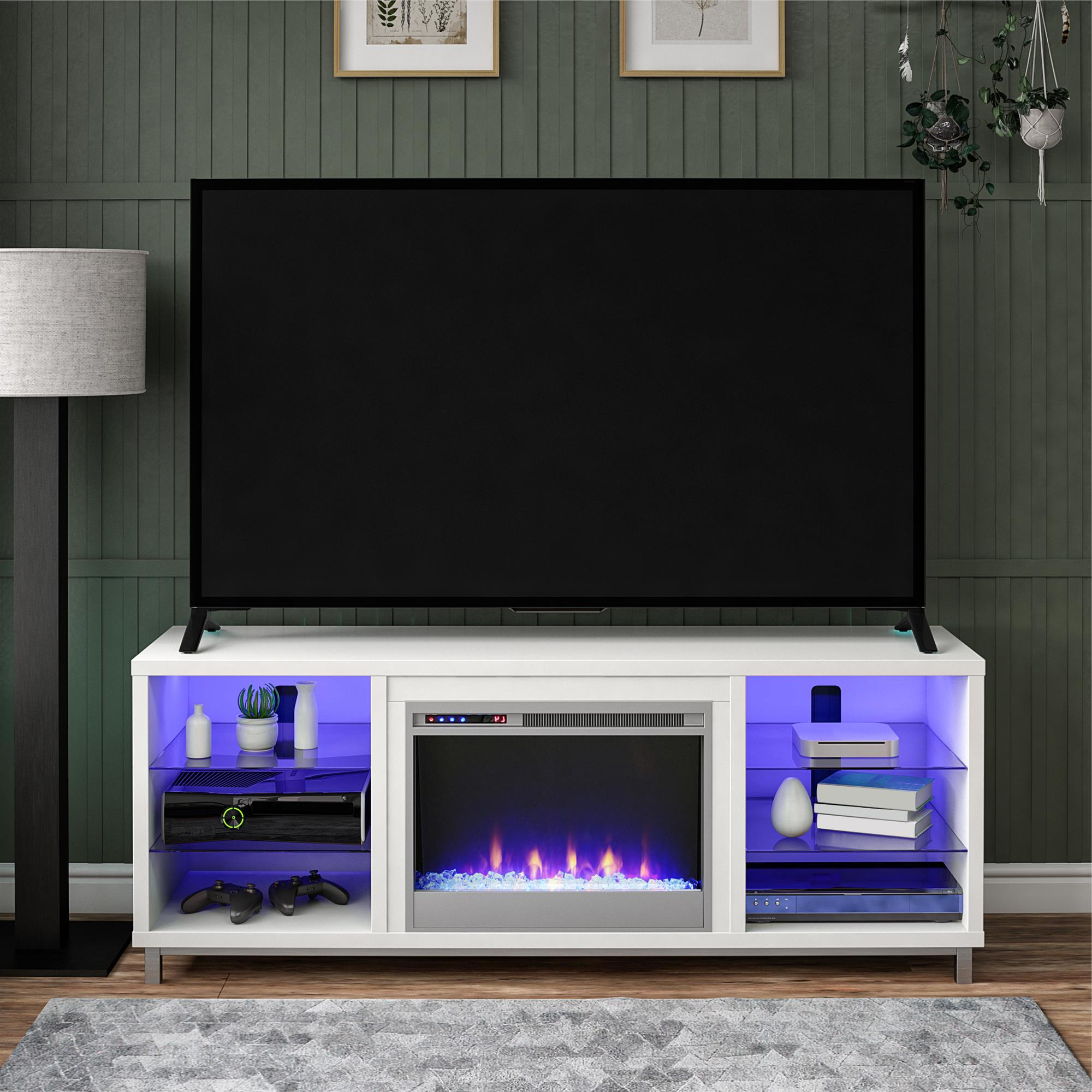 """Ameriwood Home Lumina Fireplace Tv Stand For Tvs Up To 70 With Tv Mount And Tv Stands For Tvs Up To 65"""" (View 12 of 20)"""