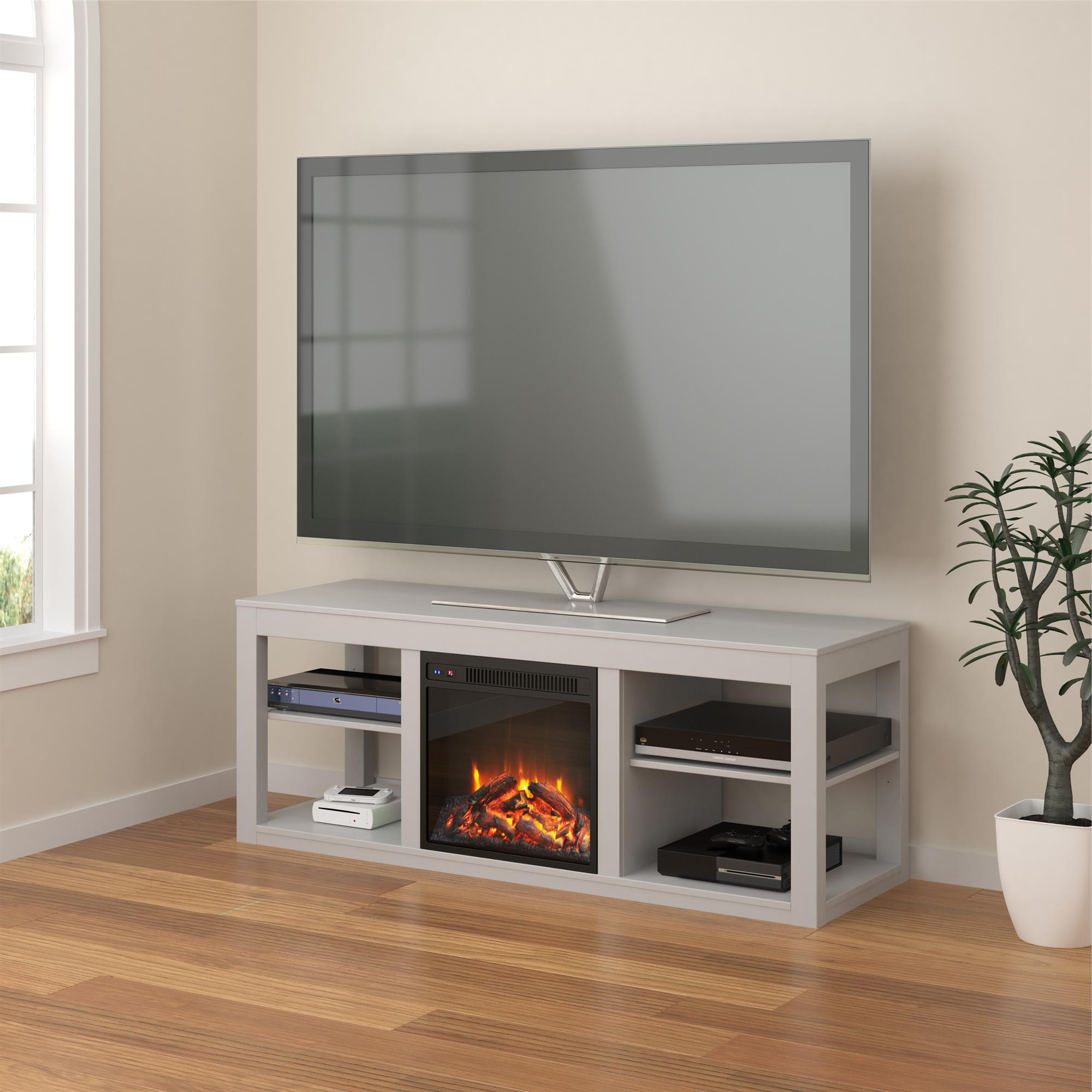 Ameriwood Home Parsons Electric Fireplace Tv Stand For Tvs With Penelope Dove Grey Tv Stands (View 5 of 20)