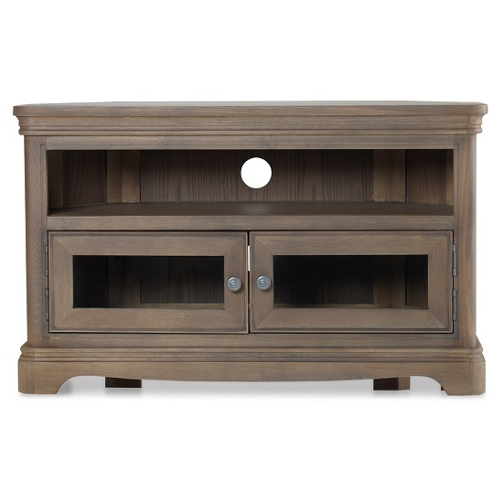 """Ametis Wooden Corner Tv Stand In Grey Washed Oak With 2 With Regard To 60"""" Corner Tv Stands Washed Oak (View 3 of 20)"""