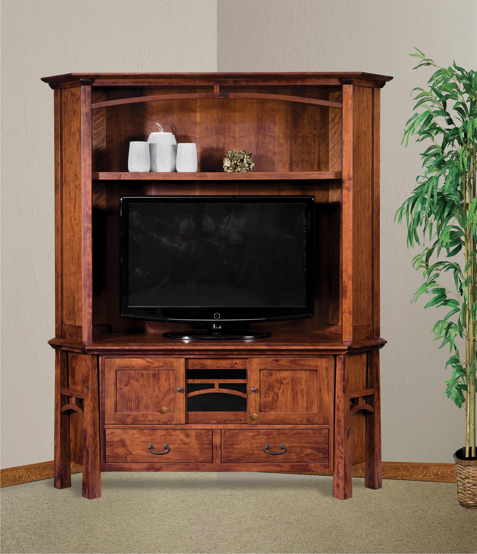 Amish Artesa Two Piece Corner Entertainment Center With Hutch Pertaining To Lucy Cane Cream Corner Tv Stands (View 15 of 20)
