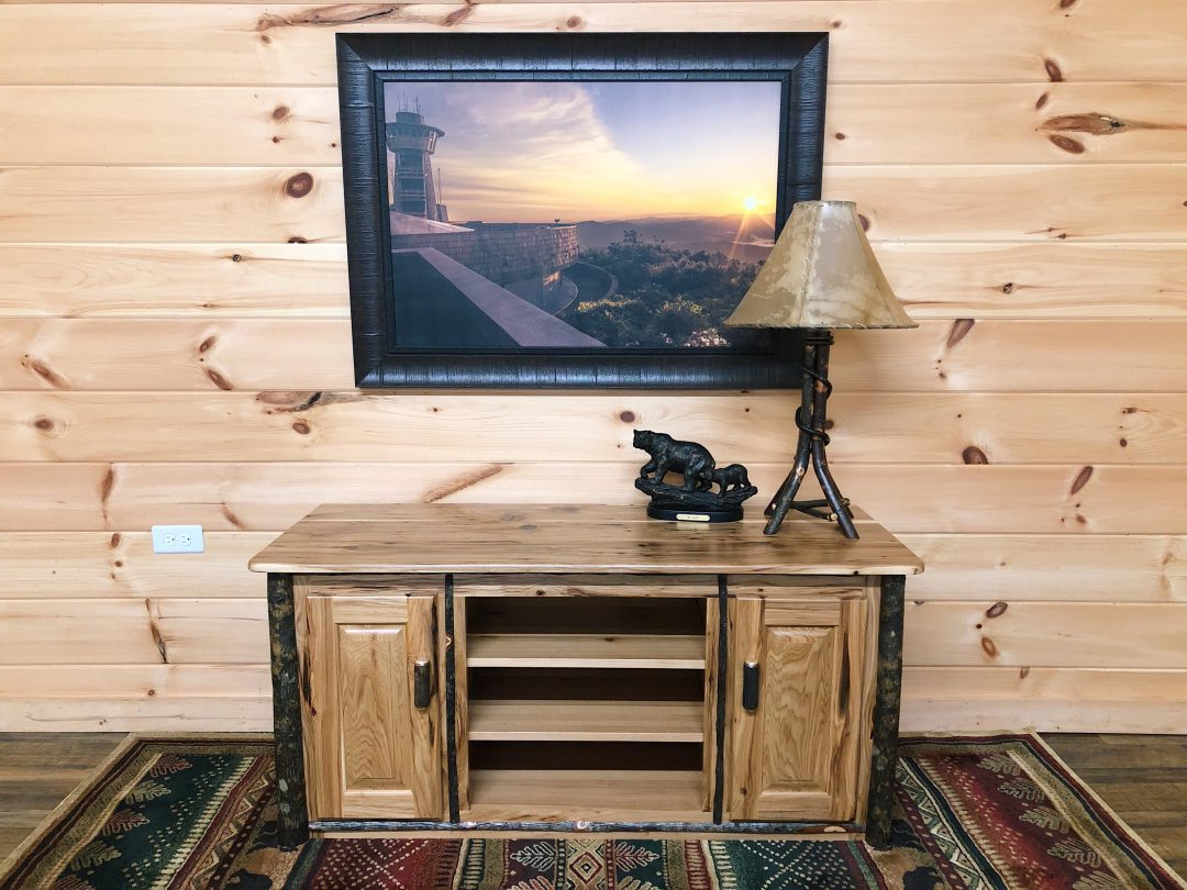 Amish Made Rustic Hickory Log Tv Stand – Mountain Top For Tasi Traditional Windowpane Corner Tv Stands (View 17 of 20)