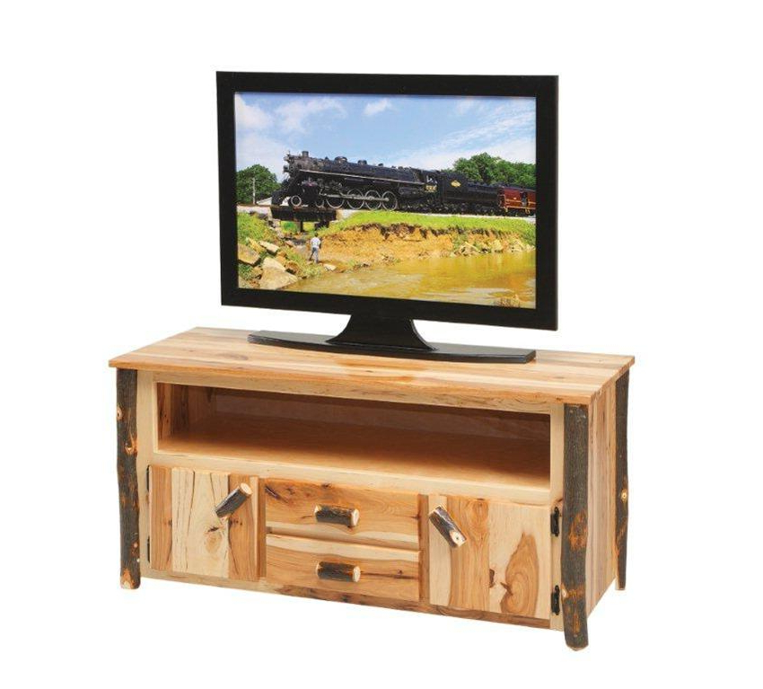 Amish Rustic Cabin Hickory Tv Stand In Lucy Cane Cream Corner Tv Stands (View 2 of 20)