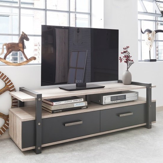 Andora Wooden Tv Stand In Sorrento Oak And Anthracite | Sale Pertaining To Sherbourne Oak Corner Tv Stands (View 7 of 20)