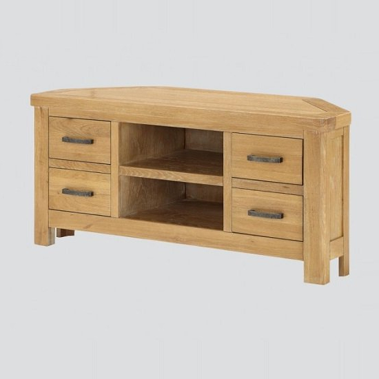 """Areli Wooden Corner Tv Stand In Washed Oak Finish Throughout 60"""" Corner Tv Stands Washed Oak (View 6 of 20)"""