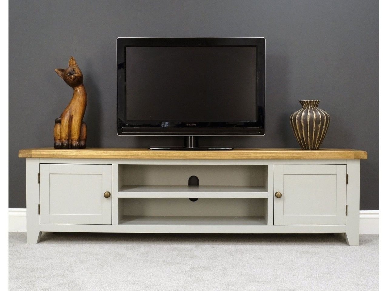 Arklow Grey Oak 180cm Extra Large Tv Unit | Tv Stand | Tv In Rustic Grey Tv Stand Media Console Stands For Living Room Bedroom (View 2 of 20)